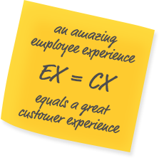 Sticky note with writing says employee experience equals customer experience