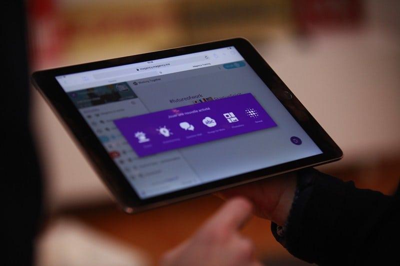 An app open on a tablet