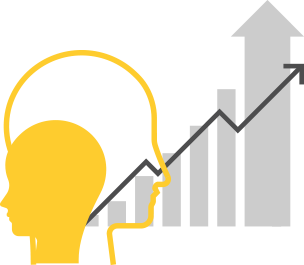 Clip art of two head drawings with increasing graph chart