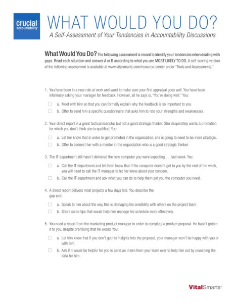Crucial Accountability What Would You Do Self-Assessment